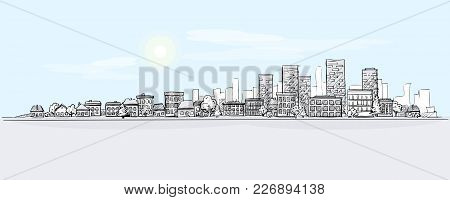 Urban Landscape Hand Drawing With City Skyline Background