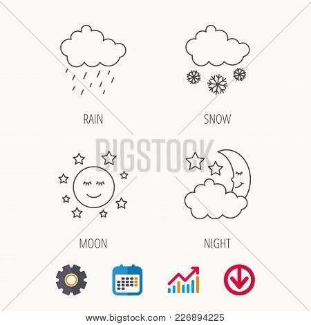 Weather, Night And Rain Icons. Moon Night And Snow Linear Signs. Calendar, Graph Chart And Cogwheel