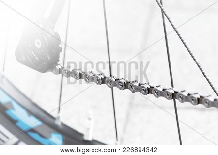Frankfurt / Germany - Jul 15 2017: Bicycle Wheel And Gear Detail With A New Clean With Shimano Deore