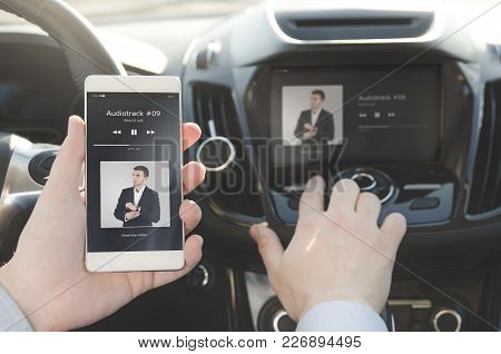 Listening Music. Smart Phone Connected To Car Audio System. Music Player Car Smart Phone Wireless Co