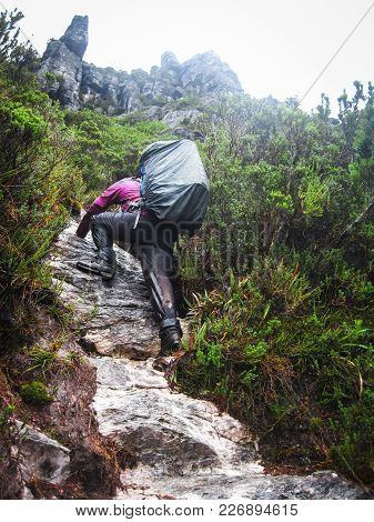A Hiker Scrambles Up A Steep Rocky Slope On An Overnight Hike In The Western Arthurs, Tasmania.