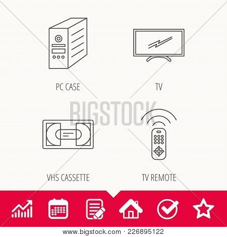 Tv Remote, Vhs Cassette And Pc Case Icons. Widescreen Tv Linear Sign. Edit Document, Calendar And Gr