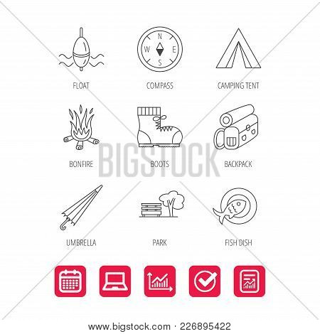Park, Fishing Float And Hiking Boots Icons. Compass, Umbrella And Bonfire Linear Signs. Camping Tent