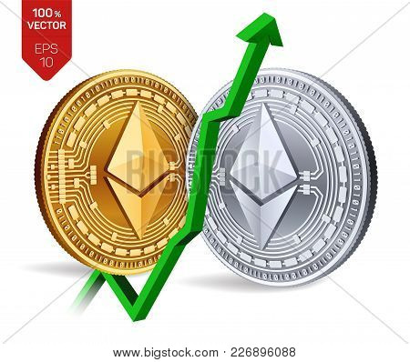 Ethereum. Growth. Green Arrow Up. Ethereum Index Rating Go Up On Exchange Market. Crypto Currency. 3