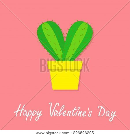 Happy Valentines Day. Cactus Heart Icon In Flower Pot. Desert Prikly Thorny Spiny Plant. Minimal Fla