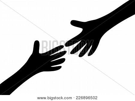 Two Arms Hands Black Silhouette Reaching To Each Other. Child And Mother. Close Up Body Part. Helpin