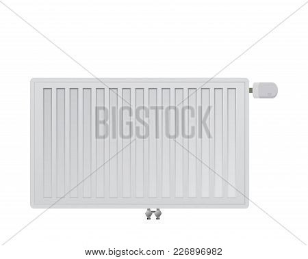 Steel Panel Radiator On A White Background. Mechanical Thermal Head Vector Illustration. Bottom Midd