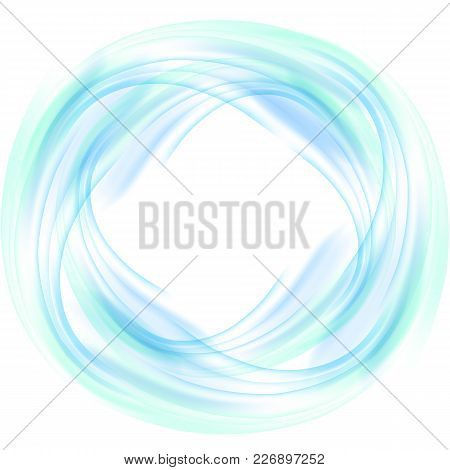 Abstract Blue Swirl Circle On White Background. Vector Illustration For You Modern Design. Round Fra