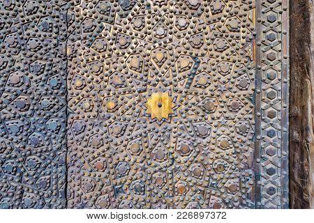 Ornaments Of The Bronze-plate Ornate Door At Al Sultan Hasan Mosque, Historic Public Mosque Located