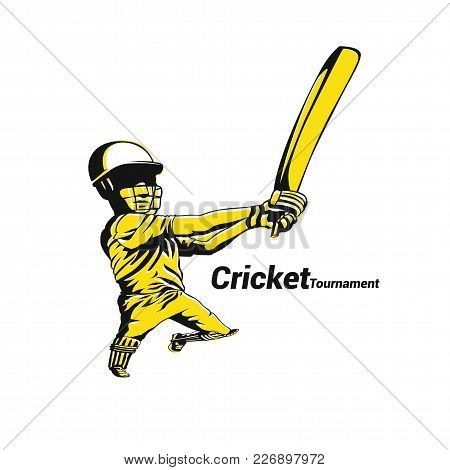 Cricket Australia In Yellow On White Background With Typography Vector Illustration Design.