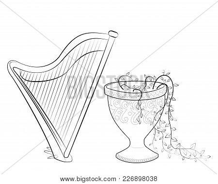 Black And White Coloring Book With The Harp And Stone Vase. Vector Illustration Of A Stringed Musica