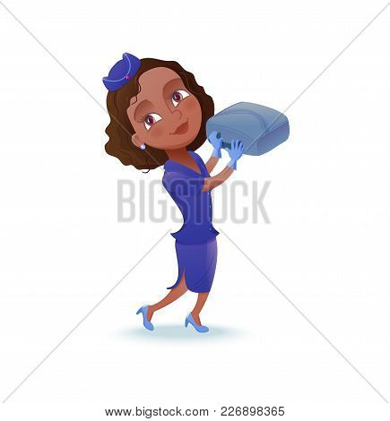 Stewardess Cartoon Character, Airline Crew Member, Cute African Girl In Blue Uniform Helping With Ba