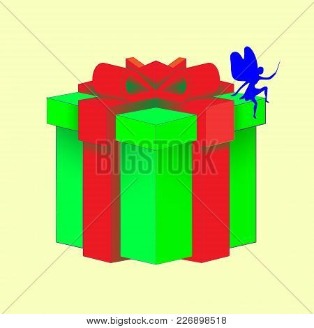 Realistic Volumetric Green Gift Box With Ribbon For Birthday Celebration, Christmas, Party, Annivers