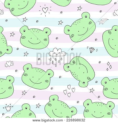 Cute Seamless Pattern With Funny Toad. Vector Illustration.