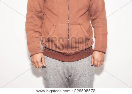 Man Having Ache Hemmoroid On White Background