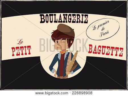 Vintage Poster Of A French Bakery With A Cartoon French Boy In The Middle