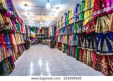 Shiraz, Iran - October 23, 2016: Clothing And Textile Shop On Hagi Bazaar In Shiraz City