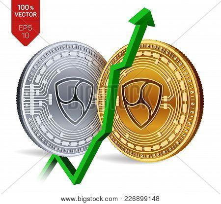 Nem. Growth. Green Arrow Up. Nem Index Rating Go Up On Exchange Market. Crypto Currency. 3d Isometri
