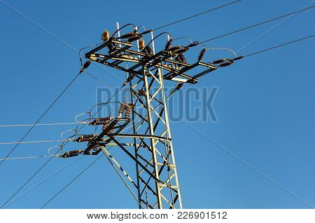 High Power Line Is Splitting In To Three Different Ways.