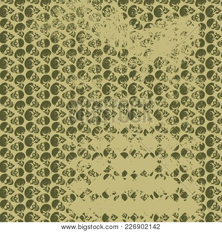 Skull Art Background. An Illustration Of Dark Green Skulls And Faded Skulls On A Green Background.