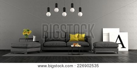 Black And Gray Living Room With Sofa And Footstools - 3d Rendering