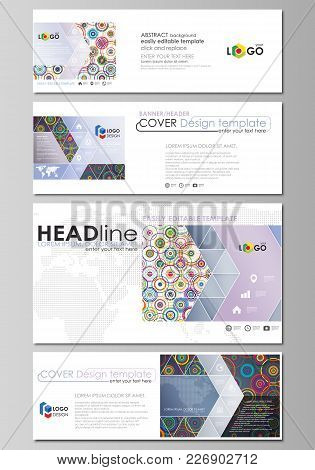 Social Media And Email Headers Set, Modern Banners. Business Templates. Easy Editable Abstract Desig