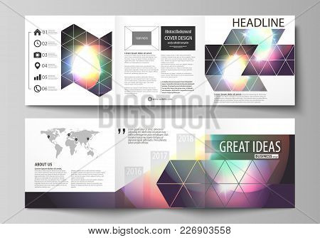 Set Of Business Templates For Tri Fold Square Design Brochures. Leaflet Cover, Abstract Flat Layout,