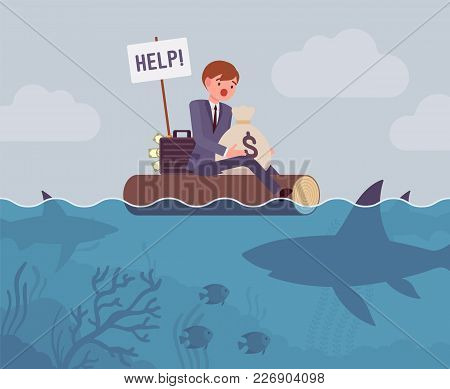 Business Attacked By Big Shark. Young Businessman Trying To Defend His Small Business And Money From