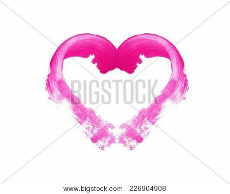 Cap From The Tint Pomade With A Brush And A Smeared Pink Lipstick, On A White Background, Mockup