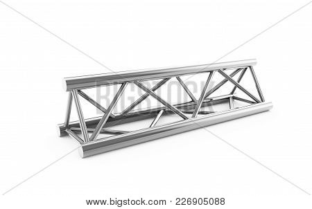 Steel Truss Girder Rooftop Construction With Outdoor Festival Stage. 3d Render Podium Isolated On Wh