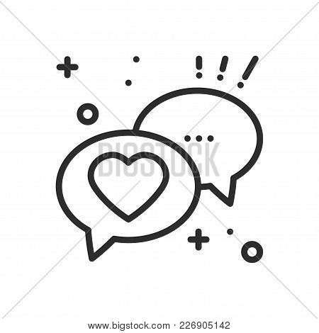 Speech Bubble With Heart Line Icon. Conversation Chat Dialog Message. Happy Valentine Day Sign And S