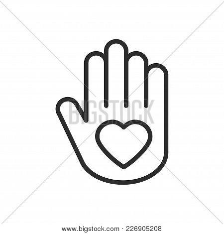 Hand With Heart Line Icon. Love Relationship Peace Charity Volunteer Help Care Protection Support Th