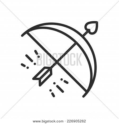 Cupid Bow Arrow Line Icon. Happy Valentine Day Sign And Symbol. Love, Couple, Relationship, Dating,