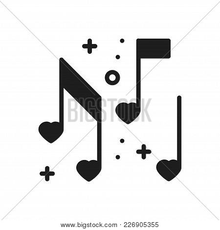 Love Music Heart Notes Line Icon. Sign And Symbol. Disco Dance Nightlife Club Party Theme. Party Bas