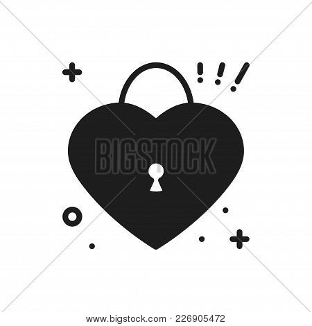 Heart Lock Line Icon. Love Sign And Symbol. Love, Couple, Relationship, Dating, Wedding, Holiday, Ro