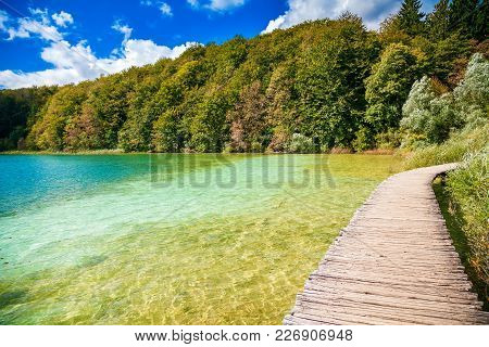 Walking Path Through The Lake In The Plitvice National Park, Croatia