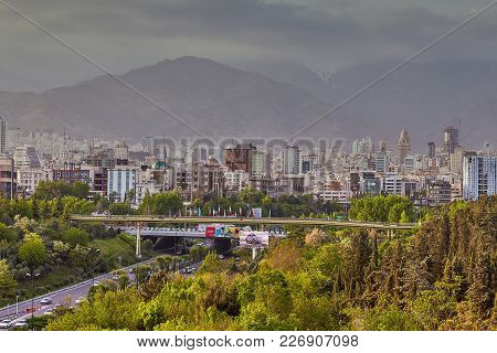 Tehran, Iran - April 28, 2017: The Urban Landscape Of Northern Tehran With The Bridge Of Water And F
