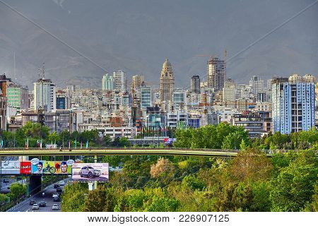 Tehran, Iran - April 28, 2017: Cityscape Of Northern Tehran With The Bridge Of Water And Fire Or Abo