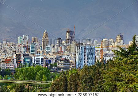 Tehran, Iran - April 28, 2017: Skyline View Of Northern Tehran With The Park Of Water And Fire Or Ab