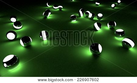 Neon Balls On A Green Background. Abstract Chaotic Glowing Spheres. Futuristic Background. Hi-res Il