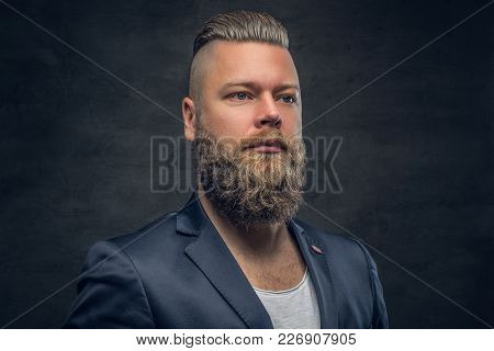 Brutal Bearded Male In A Violet Jacket, Isolated With Contrast Illumination On Grey Background.