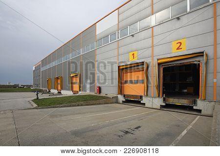 Loading Docks At Distribution Warehouse Exterior Door