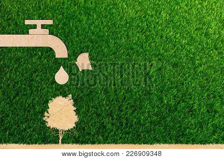 Ecology Concept Droplet Tap Live Water Save And Tree And Butterfly On World Environment Of Paper Cut