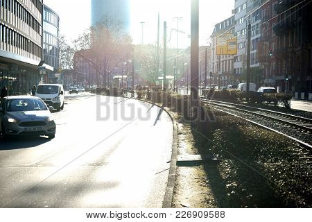 Frankfurt, Germany - January 05: Traffic On The Baseler Street With The High-rise Building Westhafen