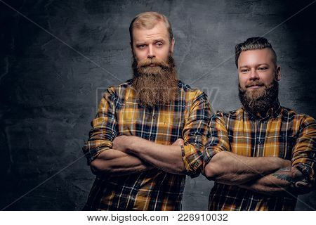 Two Positive Bearded Hipster In A Yellow Plaid Shirt Isolated On Grey Vignette Background.
