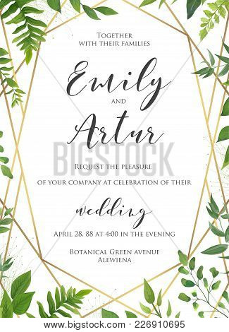 Natural Botanical Wedding Invitation, Invite, Save The Date Template. Vector Floral Design Card. Gre