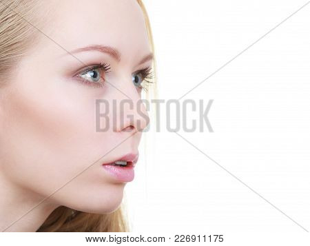 Gestures And Emotions Concept. Very Stunned, Shocked And Astonished Woman Face Closeup