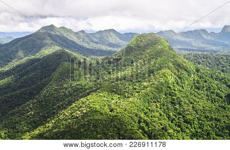 Mountains Covered With Pristine Primary Forest Dominate The Landscape In This Aerial Shot Of The Coc