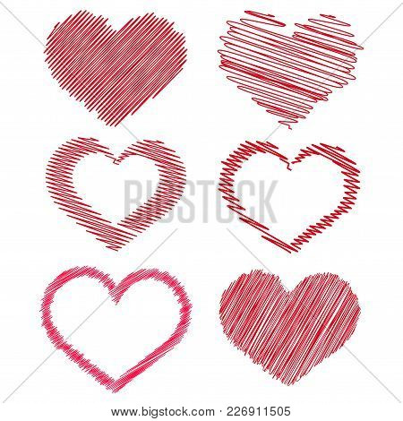 Set Of Red Hand Drawn Hearts For Your Design. Vector.