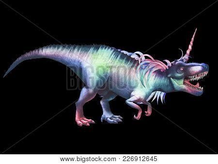 Watercolor Dinocorn. Pastel Colored Roaring Tyrannosaurus With Unicorn Horn And Mane. Side View. Han